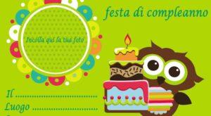 copertina Inviti per feste di compleanno bambini da scaricare gratis, gufetti