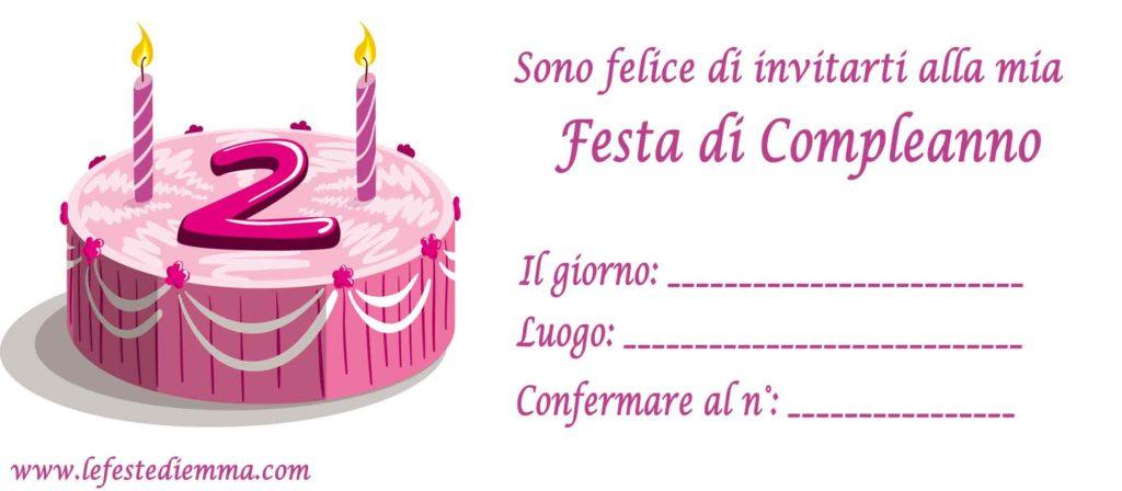 Inviti per festa di compleanno 2 anni