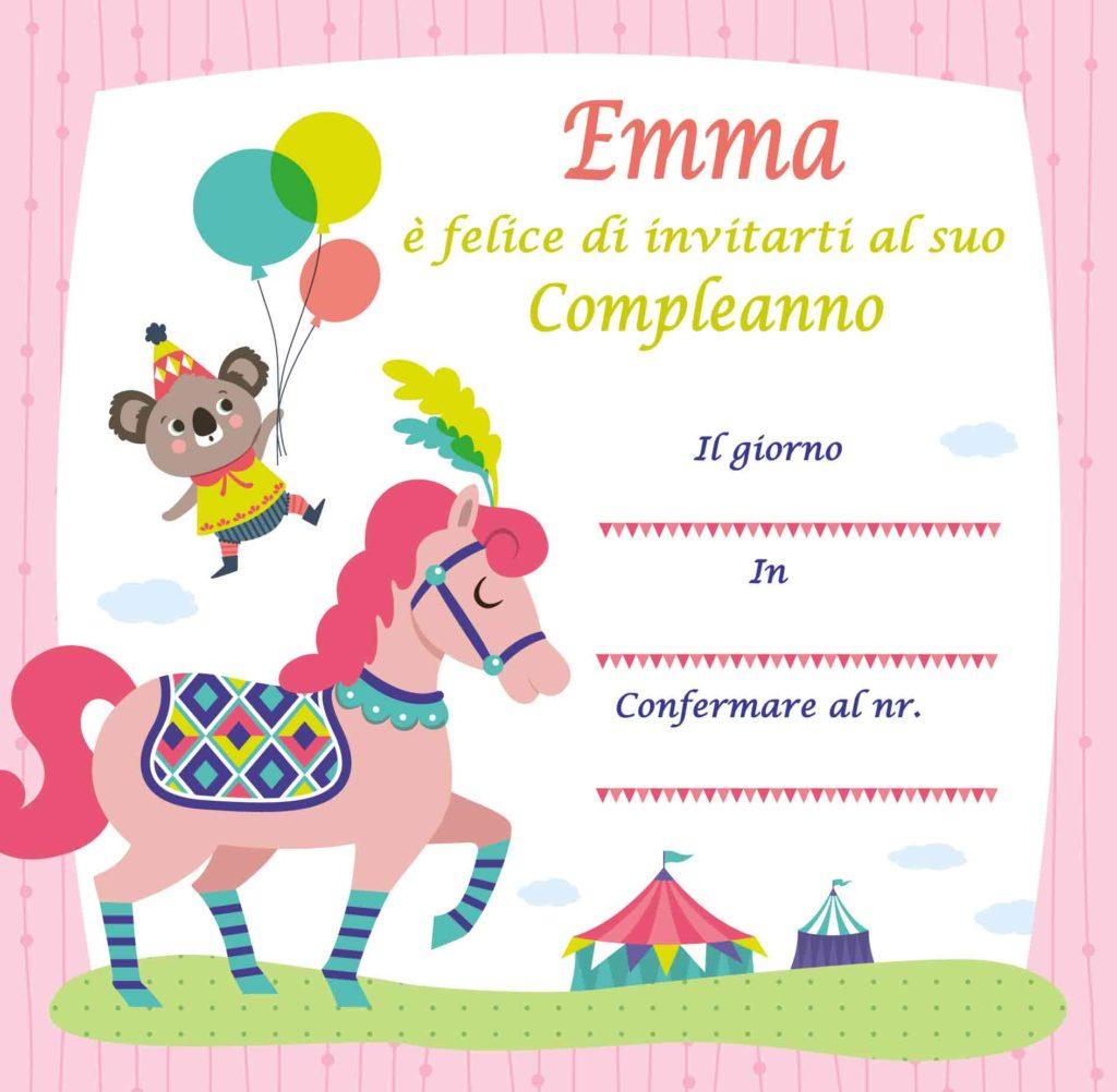 Inviti di compleanno personalizzati con il nome Emma