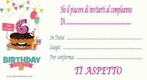 Inviti per feste di compleanno da stampare, 6 anni