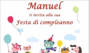 copertina Inviti di compleanno personalizzati da scaricare gratis, Manuel