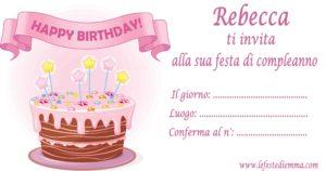 Inviti per feste di compleanno stampabili gratis, Rebecca