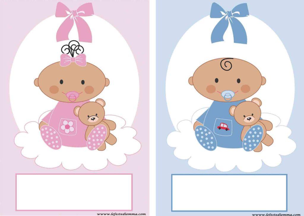 Inviti per baby shower, maschi e femmine