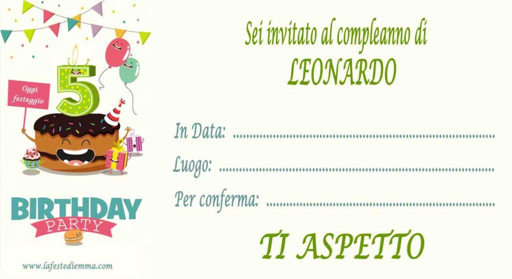 Inviti per feste di compleanno 5 anni scaricabili gratis, Leonardo