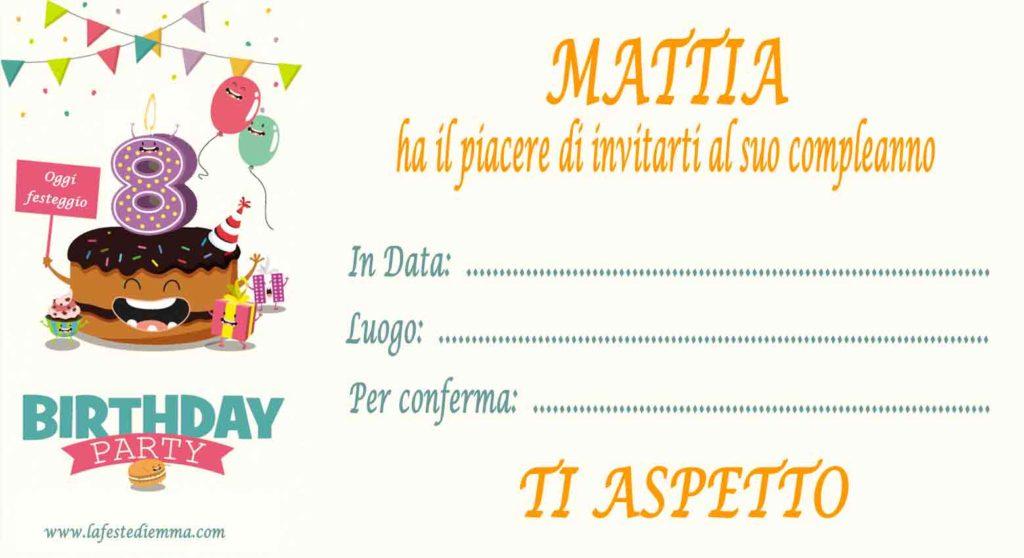 Inviti per feste di compleanno stampabili gratis, Mattia