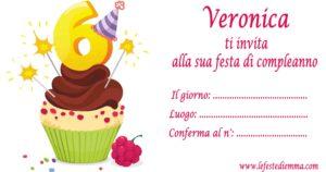 Inviti per feste di compleanno di 6 anni per Veronica